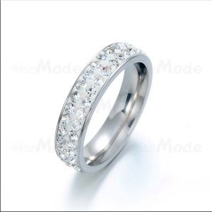NWT Crystal shine band stainless steel ring